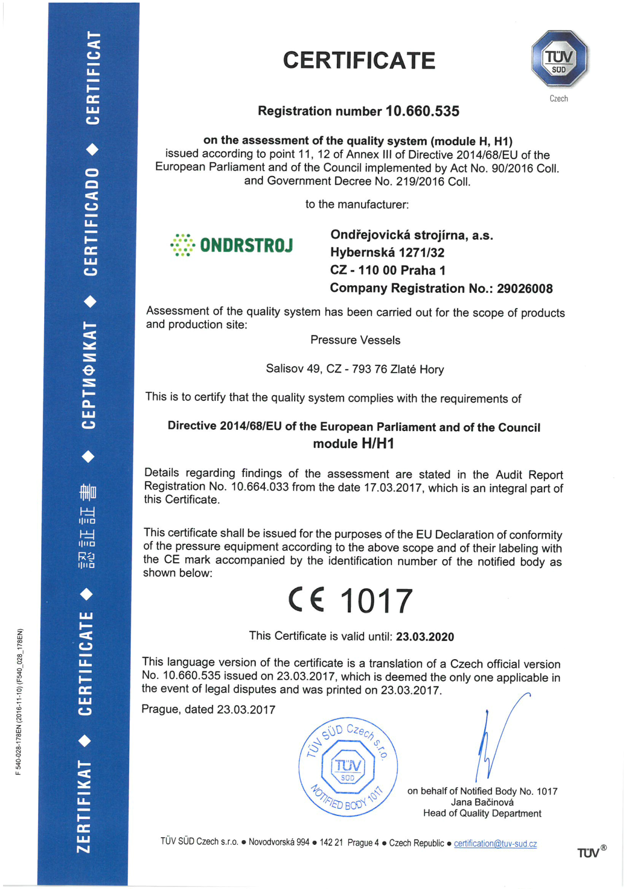 Certification and licence according PED | Certificates ...